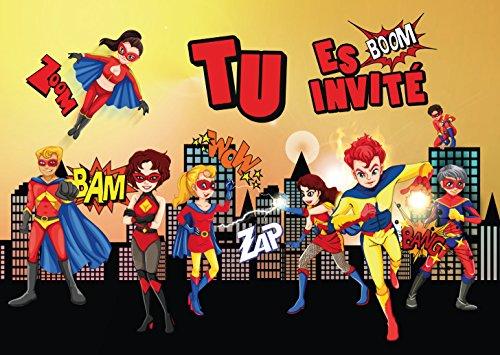Edition Colibri Lot de 10 Cartes d'Invitation Super-HÉROS en Français pour Un Anniversaire d'Enfant ou pour Une fête avec des superhéros des (10963 FR)