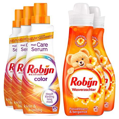 Robijn Perfecte Match Color Wasmiddel en Wasverzachter 3 x 21 en 2 x 30 wasbeurten