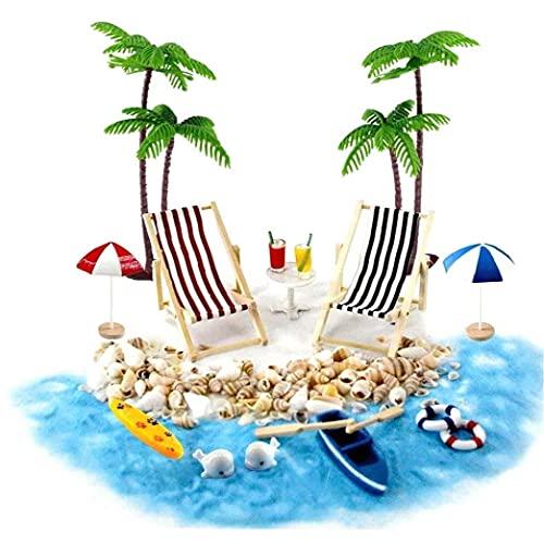 TOPofly Estilo Playa Miniatura 18PCS casa de muñecas en Miniatura Accesorios de Playa Decoración del Paisaje de la Playa Micro con tumbonas Parasoles de la Palmera para el Verano