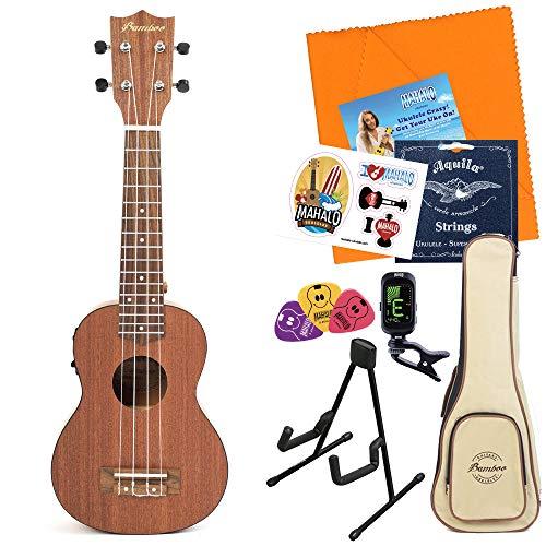 Bamboo Guitars Exotic Mahogany Soprano Ukulele w/EQ ウクレレ初心者セット スタンド付き入門8点セット ソプラノウクレレ ピックアップ付き バンブーギターズ