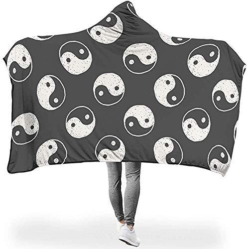 Manta de invierno con estampado de temática Yin Yang, de microfibra, con capucha, color negro, zen, manta para sofá, manta duradera, suave, ligera, 130 x 150 cm