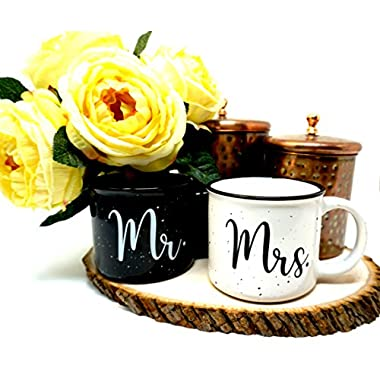 Zidello Mr and Mrs Couples Ceramic Coffee Mug Set of 2 - Unique Wedding Gift for Bride and Groom - Anniversary Present for Husband and Wife - Engagement Gifts for Him & Her - Ceramic Cups 13oz