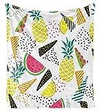 XZDPPTBLN Mantas de Franela Súper Suave de Lana Piña de Frutas Coloridas Mantas con Estampados Esponjosa y Cálida Mantas para la Cama y el Sofá 70cm x 100cm