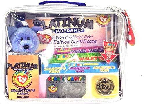 Ty - Beanie-Club Platinum Tasche - mit exclusiven Bär/Teddy blau - Collector Beanie Coin & Collector Cards inklusive