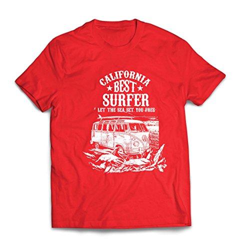 lepni.me Camisetas Hombre Mejor Surfista de California - Vacaciones de Verano en la Playa, Estilo de Surf, Van, Diseño de Viajes (Medium Rojo Multicolor)