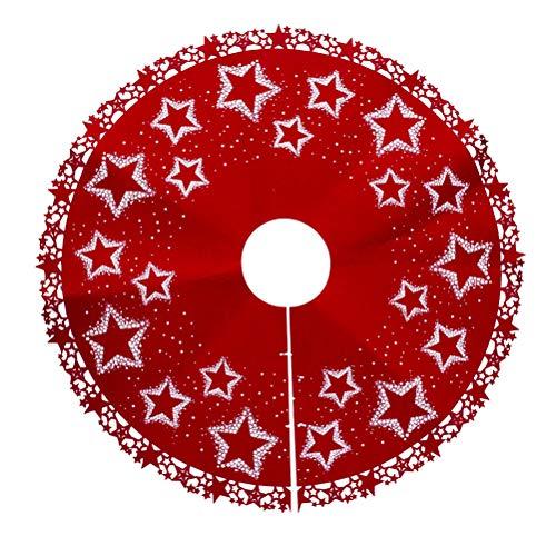 BESTOYARD Filz Weihnachtsbaum Rock Weihnachtsbaumdecke Baumdecke Christbaumständer Decke Weihnachtsschmuck Weihnachtsdeko 100 cm(Stern)
