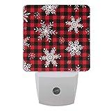 Vdsrup Winter Snowflakes Night Light Set of 2 Red Black Check Buffalo Plaid Christmas Plug-in LED Nightlights Auto Dusk-to-Dawn Sensor Lamp for Bedroom Bathroom Kitchen Hallway Stairs