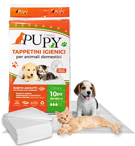 PuPy 20 Classic Tappetini Igienici Assorbenti per Cani, 60x90, con Adesivi, Polimeri Ultra-assorbenti, Addestramento pipì, Traversine per Animali Domestici (20 PZ 60x90)