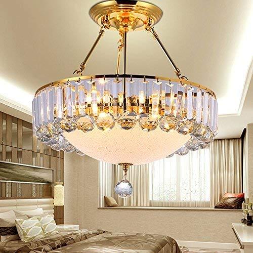 BBZZ Gotas de cristal redondas montaje empotrado lámpara de techo lámpara lámpara para comedor dormitorio sala de estar, A-56 cm