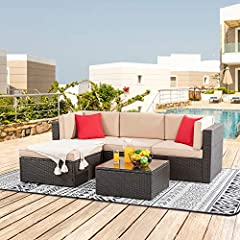 Sturdy & Durable: This product USES high quality PE wicker artificial weaving, the surface is smooth and flexible, waterproof and all weather proof The structure is strong and safe. It can be used for years. Modern & Comfortable: This modern outdoor ...