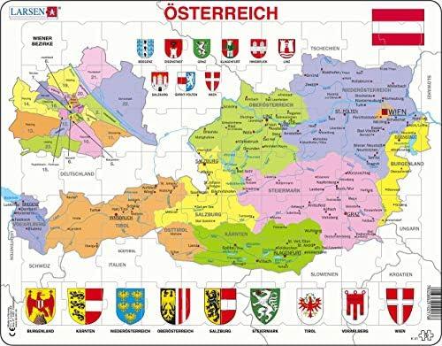 Larsen K41 Mapa político de Austria, edición en Alemán, Puzzle de Marco con 70 Piezas: Amazon.es: Juguetes y juegos