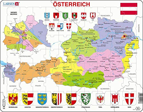 Larsen K41 Österreich Politische Karte, Deutsch Ausgabe, Rahmenpuzzle mit 70 Teilen