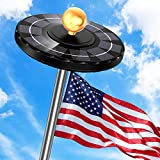 Solar Flag Pole Light, Newest 132 LED 3X Brighter Solar Powered Flagpole Light 100% Flag Coverage Waterproof Solar Light for in-Ground Poles 15-25Ft, Fits 0.5' Wide Flag Ornament Spindles