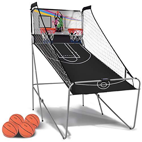 RELAX4LIFE Panier de Basketball Pliable Électronique avec 1 Panneau d'Affichage, 2 Paniers, 4 Basket-Balls, 8 Modes de Jeu, Assemblage Facile, 202x107x205CM