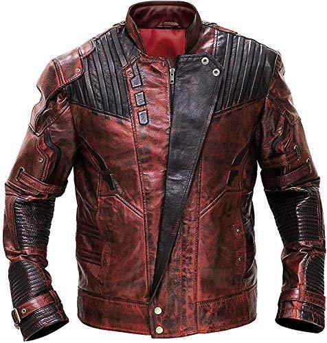 HiFacon Guardians of Galaxy 2 Star Lord Chris Pratt Peter Quill Maroon Chaqueta de piel