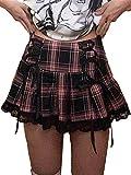Women Y2k Skirt Lace Patchwork Mini Pleated Skirts High Waist Lace Up Ruffle Short Skirts Harajuku Goth Skirt (Black Pink Plaid, M)