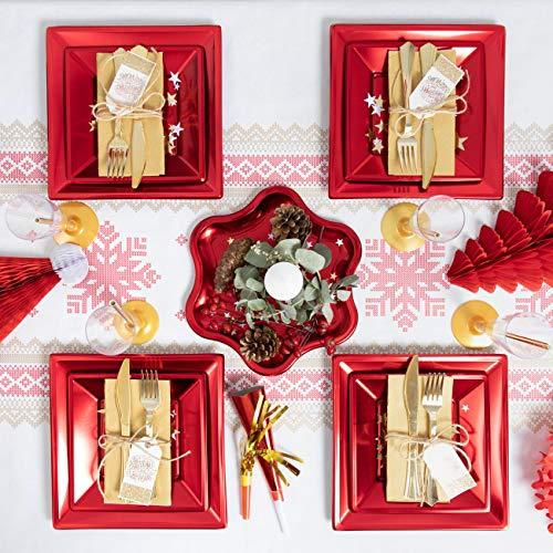 Pack ahorro Kit vajilla desechable elegante con decoracion mesa