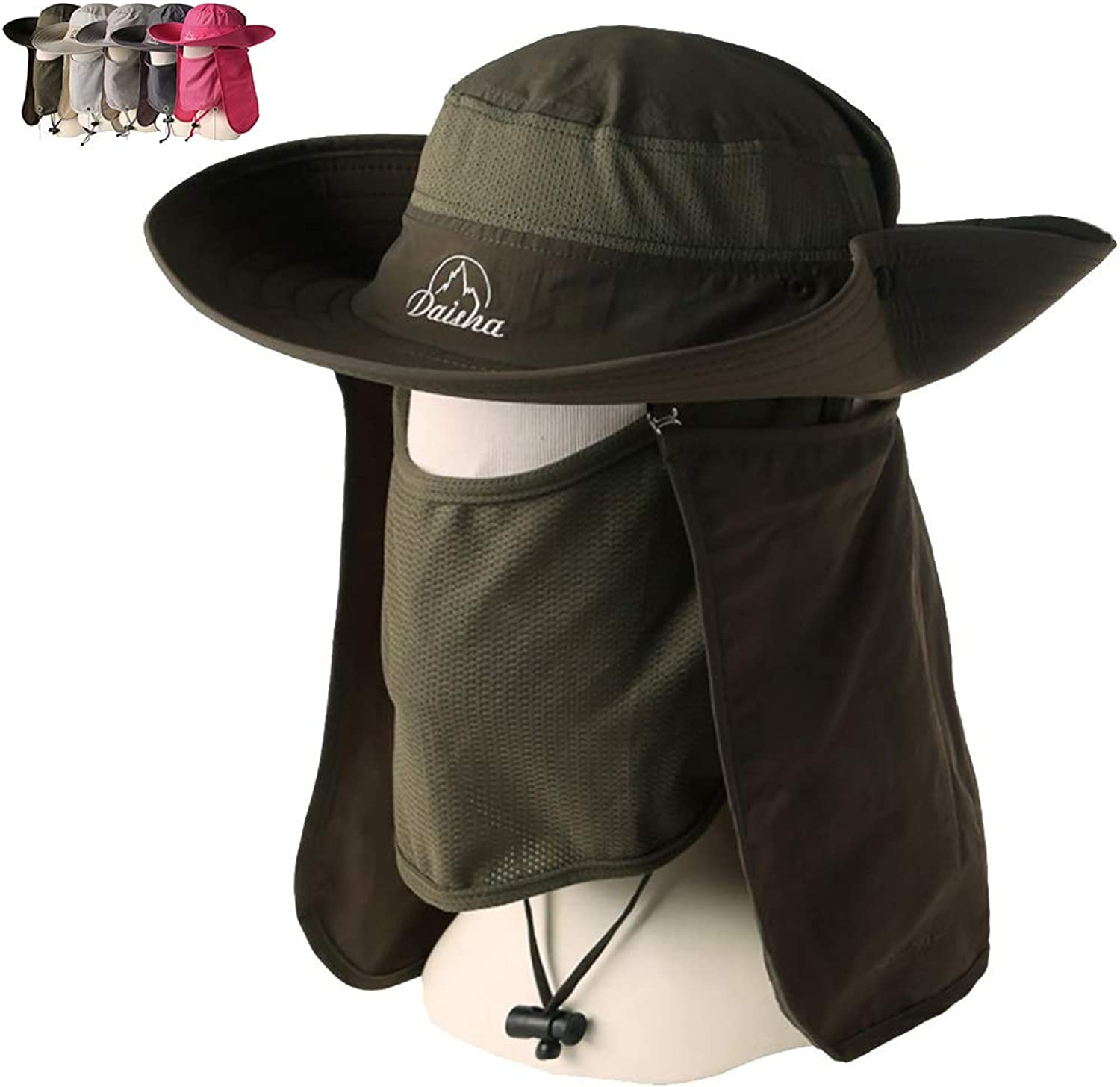 Peicees Wide Brim Fishing Hat, UV Sun Predection UPF50+ Shade Hat, Detachable Removable Neck&Face Flap Cover Hat Cowboy Hat for Men & Women, Backpacking Cycling Hiking Garden Hunting Outdoors Camping