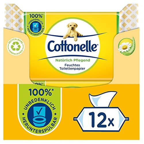Cottonelle Feuchtes Toilettenpapier, Natürlich Pflegend - Kamille & Aloe Vera, Biologisch Abbaubar, Plastikfrei, Wiederverschließbar, Vorteilspack, 12 x 42 Feuchttücher