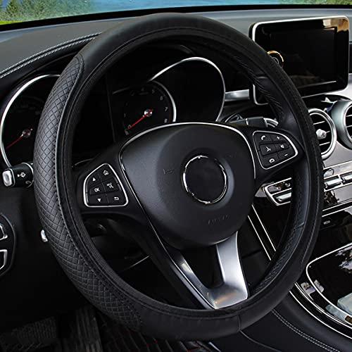 Leather Car Steering Wheel Cover, Elastic, Breathable Anti-Slip, Universal 15 inch, Steering Wheel Cover for Men Women (Black1)