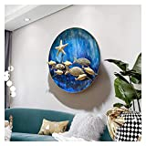 Costa Ocean Metal Fish Wall Decoración de arte, Peces 3D en el mar azul plato redondo, lámina de oro artesanía decoración de pescado, liso...