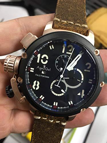 PLKNVT Nagelneue Mann-Automatische Mechanische Uhr-Schwarz-Silber-Rosen-Goldboots-Edelstahl-Brown-Leder-Sport-50Mm Uhren Für Sie4
