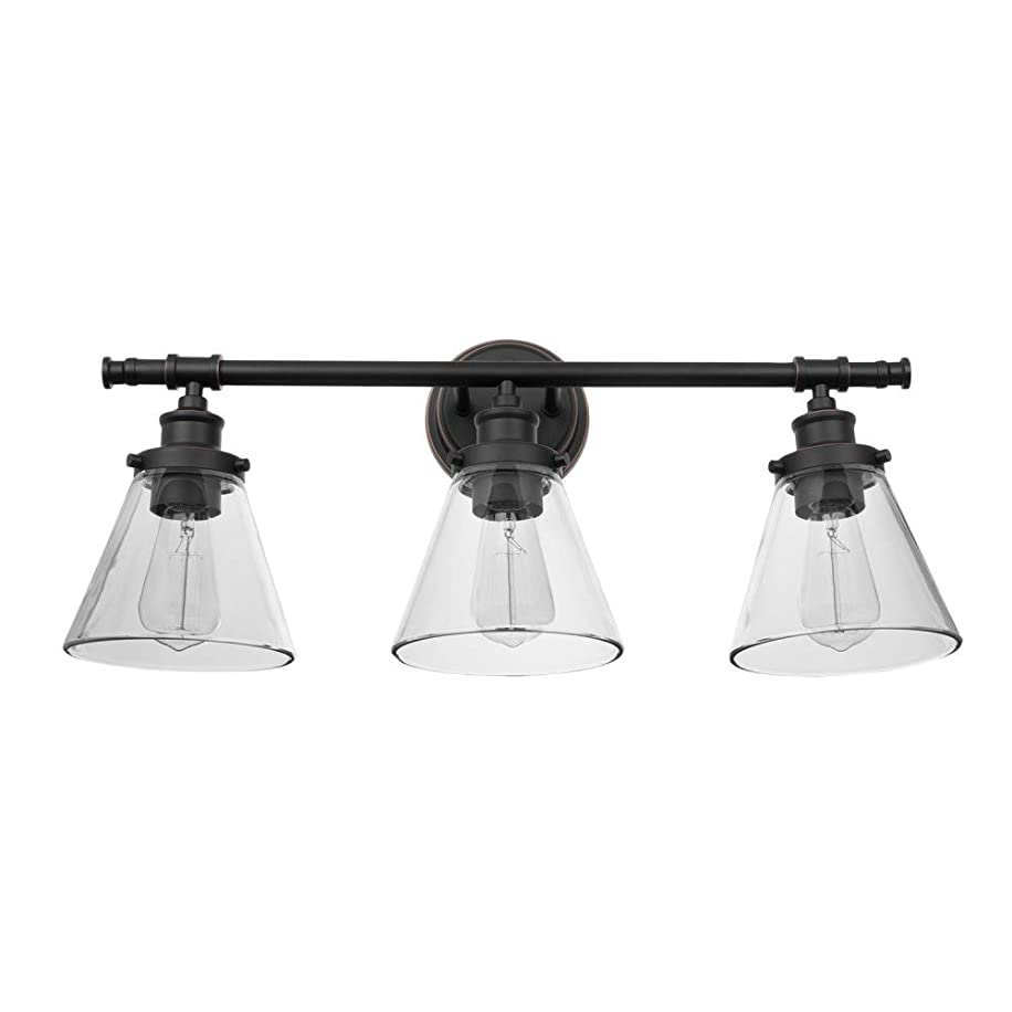 Globe Electric 51411 Parker 3-Light Vanity Light, Oil Rubbed Bronze with Clear Glass Shades