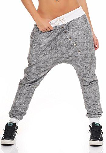 Malito Damen Jogginghose mit Knopfleiste | Sporthose meliert | Baggy zum Tanzen | Sweatpants - Trainingshose 7398 (weiß)