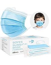 SOYES 3-laags gezichtsmaskers TYPE IIR wegwerpmaskers voor volwassenen, ademend, elastisch oorlus, gezichtsmaskers, stofdicht, ademend voor gevoelige huid met verzegelde zak