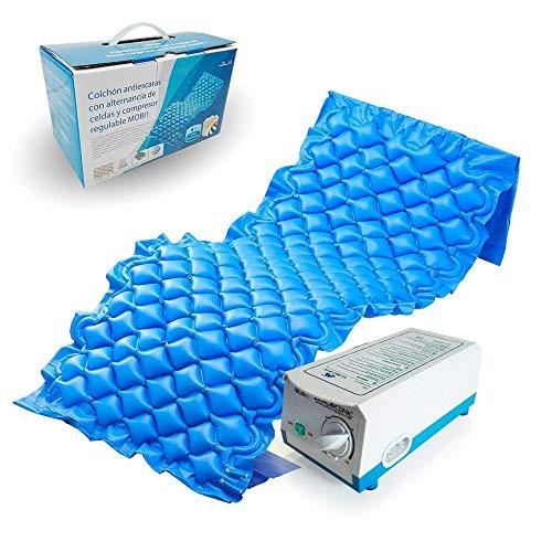 Mobiclinic, Mobi 1, Colchón antiescaras de aire alternante, con motor compresor, PVC médico ignífugo, para escaras de Grado I, 200 x 90 x 7, 130 celdas, color Azul