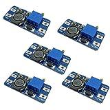 KKHMF 5PCS MT3608 DC-DC 2A Boost ステップアップ 転換モジュール 2V-24V to 5V-28V 9V 12V 24V