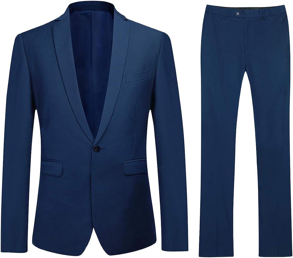 Boyland Mens 2 Piece Elegant Suits Jacket Slim Fit Notch Lapel One Button Single Breasted Pants Blue