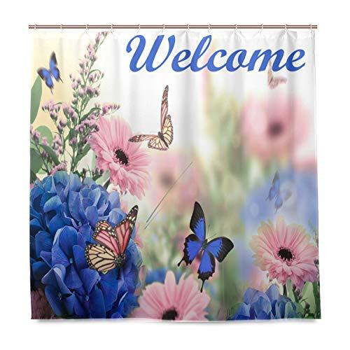 Wamika Duschvorhang, blau-rosa Blumen-Schmetterling, Hausdekor, Willkommen Frühling, Stoff, schimmelresistent, Wasserdichte Badewannen-Vorhänge mit 12 Haken, 183,0 cm x 183,0 cm