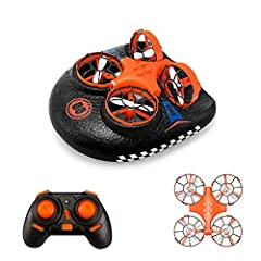 -3-in-1 Flight Mode:Simple operation, free combination of drone and foam hull, to achieve a variety of play in sea, land and air, mode switching easy to use, not limited to the environment. -Detachable Drone: The drone and the base can be split and f...
