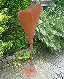 terracotta-toepfe-de Herz 90 cm aus Metall, bepflanzbar in Edelrost Optik, Deko für Garten und Wohnung Valentinstag