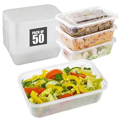 Recipientes de almacenamiento de alimentos con tapas herméticas, recipientes de plástico reutilizables sin BPA, aptos para microondas, congelador y lavavajillas