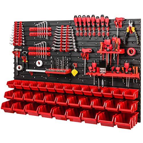Werkzeugwand Stapelboxen 1152 x 780 mm - Lagersystem SET Werkzeughaltern und 34 Stück Box - Wandregal Werkstattregal Lochwand Schüttenregal Sichtlagerkästen, Rot