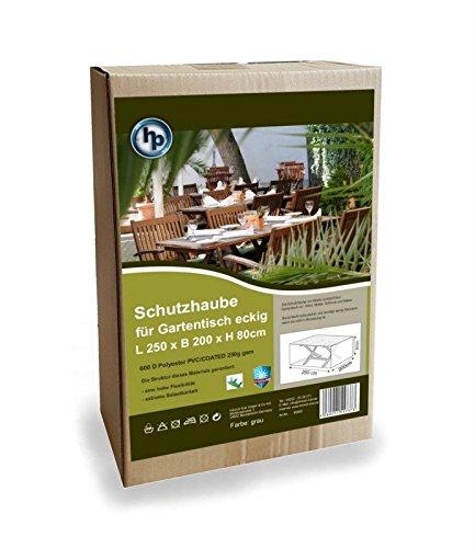 Hausratplus beschermkap tuintafel tafel 250 x 200 x 80cm grijs 600D