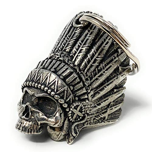 Indian Skull Motorcycle Biker Bell Accessory or Key Chain for Luck