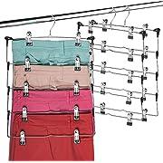 Space Saving 5 Tier Metal Skirt Hanger with Clips (6 Pack) Hang 5-on-1, Gain 70% More Space, Rubber Coated Hanger Clips, 360 Swivel Hook, Adjustable Clips Pants Hanger, Hang Slack,Trouser,Jeans,Towels