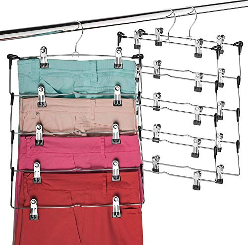 Space Saving 5 Tier Metal Skirt Hanger with Clips Hang 5-on-1, Gain 70% More Space, Rubber Coated Hanger Clips, 360 Swivel Hook, Adjustable Clips...