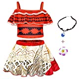 AmzBarley Princess Moana Swim Suit Swimming Suits for Girls Kids 2 Piece Bathing Suit Swimsuit Swimwear Tankini Halter Top and Swim Skirt Sets for Sport Pool Party with Accessories,9-10 Years