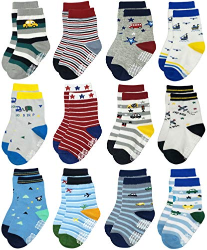RATIVE Non Skid Anti Slip Slipper Cotton Striped Crew Dress Socks with Grips for Baby Toddler Boys (3-5T, RB-913915)