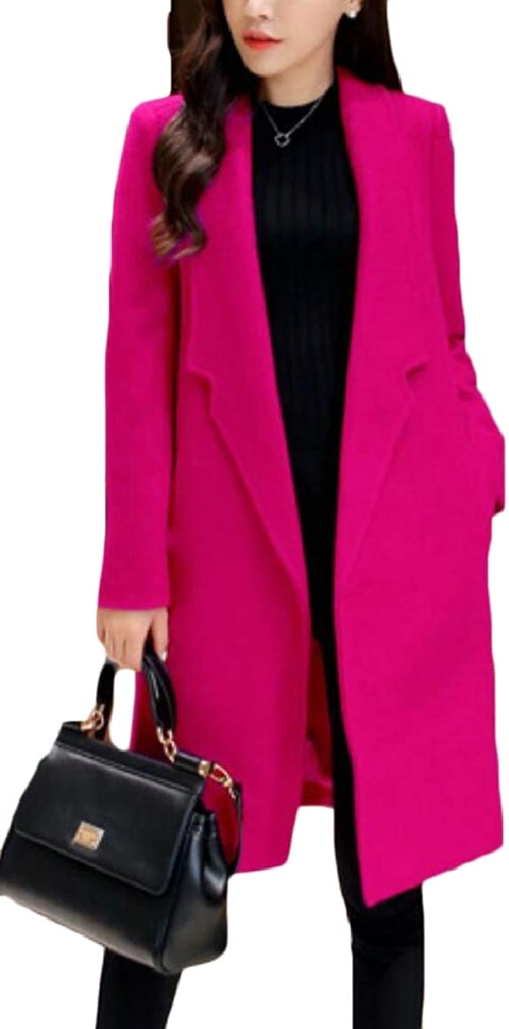 RGCA Women's Outerwear Wool Blend Slim Fit Mid Long Solid color Trench Coat