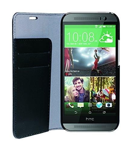 Phonix HTCO8BCB - Carcasa estilo libro para HTC One M8, en cuero ecológico, color negro