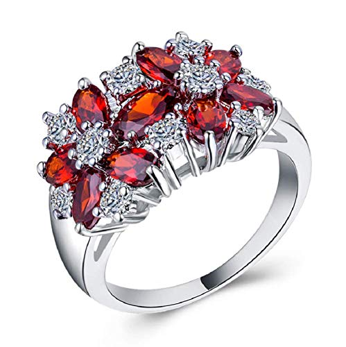 LMCIEZR Lady/Women's White 925 Silver Filled Red Ruby Wedding Ring Gift...