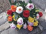 Bouquet de fleurs artificielles pour cimetière 18 roses multicolore 61 cm.