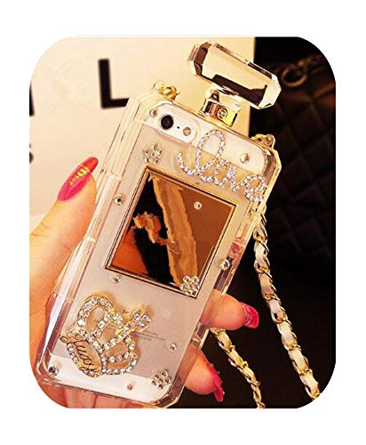 Bling Crystal Diamond Chain Handtas Parfum Fles Lanyard Case Voor Iphone11 Pro Max 5S 6S 7 8Plus X Xs Max Xr Telefoonhoesje, For iphone X, 1 exemplaar
