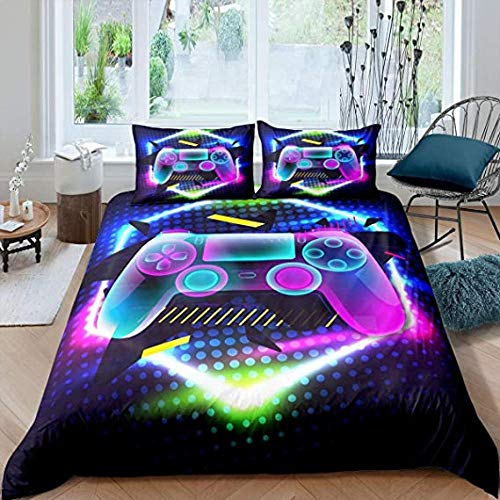 HUA JIE Gamepad Bedding Set for Boys Teens, Modern Gamer Comforter Cover, Multi-Color Video Gaming Kids, Geometric Dots Action Buttons Decor, Room Decoration