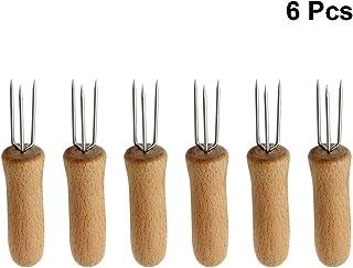 UPKOCH Tenedores de maíz de acero inoxidable Tenedores de maíz con mango de madera Tenedor de